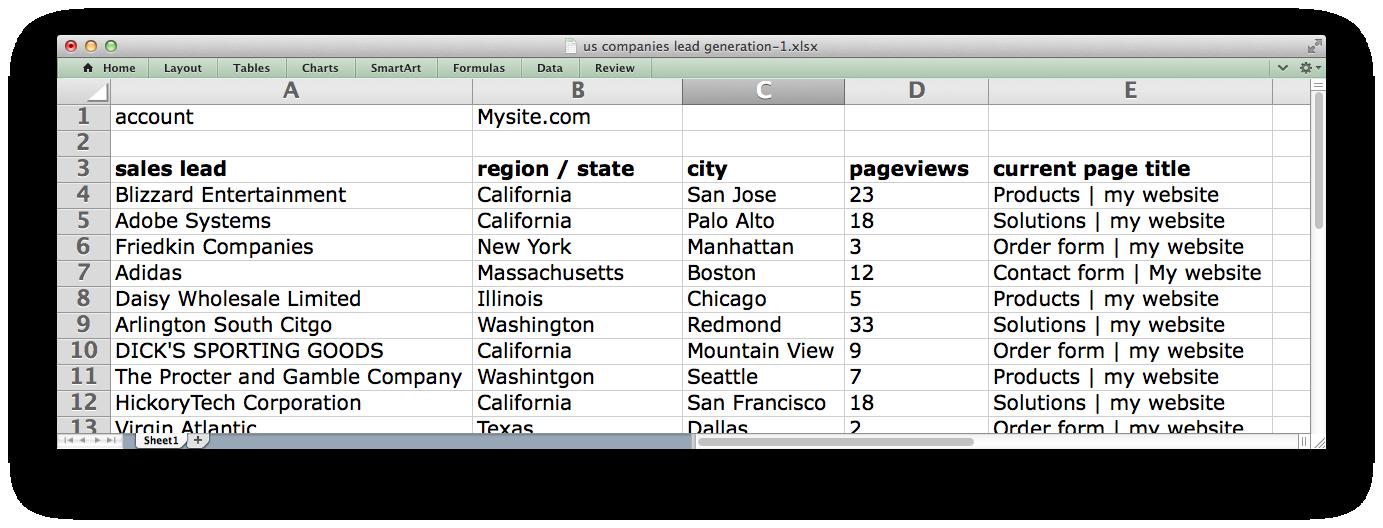 website-lead-generation-xls screenshot