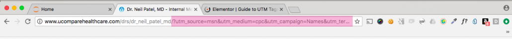 An example utm tag in a browsers url box.